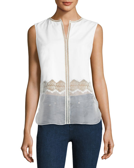 Elie Tahari Karma Sleeveless Paneled Blouse