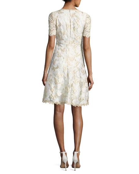 Larsa Short-Sleeve Lace Dress, Cream