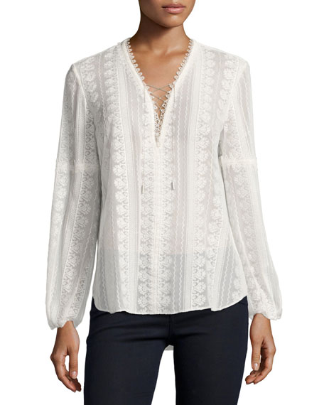 Tanya Long-Sleeve Lace-Up Silk Blouse, Ivory