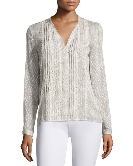 Elie Tahari Gale Long-Sleeve Lace-Trim Pintucked Blouse, Light