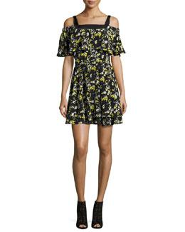 Ruffled Off-the-Shoulder Flower-Print Silk Dress, Midnight