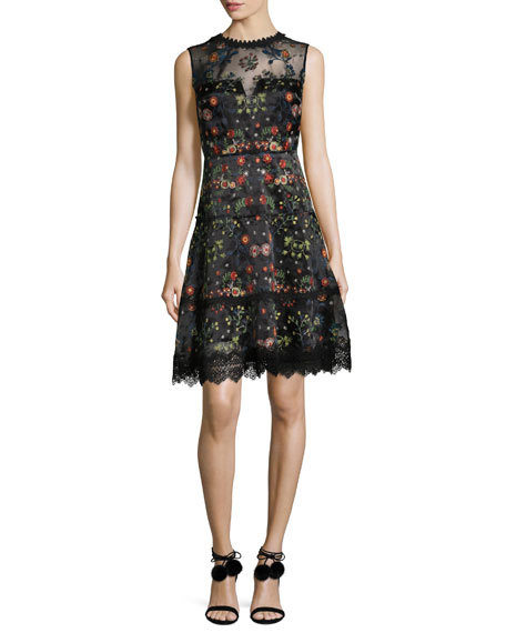 Elie Tahari Maritza Sleeveless Floral-Embroidered Satin Dress,