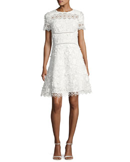 Adina Short-Sleeve Floral Applique & Lace Dress