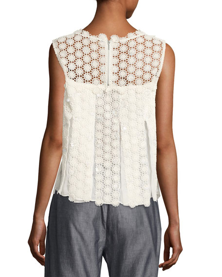 Dionne Sleeveless Cotton Lace Blouse, Antique White