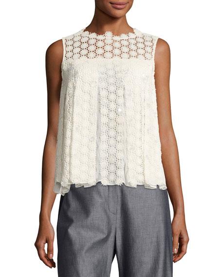 Dionne Sleeveless Cotton Lace Blouse, Antique White