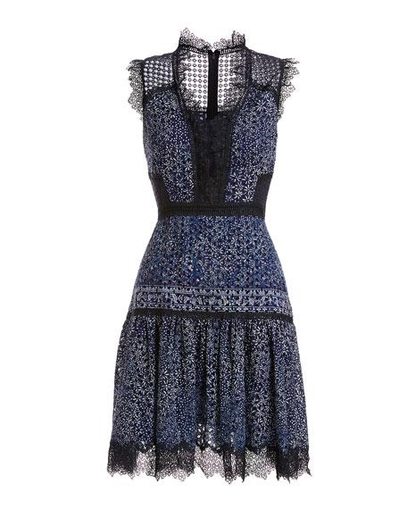 Shanna Sleeveless Lace-Trim Floral Dress, Medium Blue
