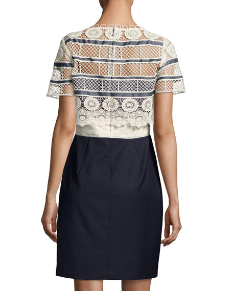 Carline Lace Popover & Chambray Combo Dress
