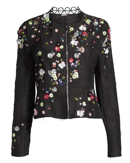 Marta Cropped Tweed Jacket w/ Mixed-Media Floral Trim