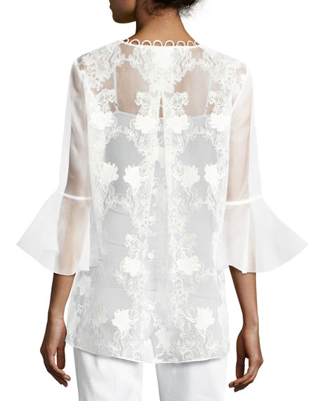 Avon Bell-Sleeve Embroidered Organza Blouse, White