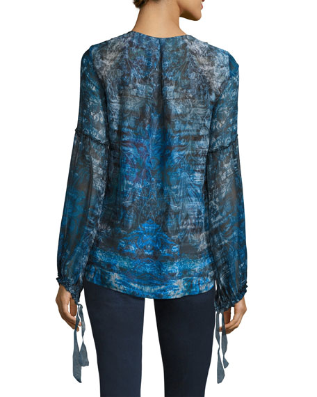Avan Long-Sleeve Lace-Trim Chiffon Blouse, Blue