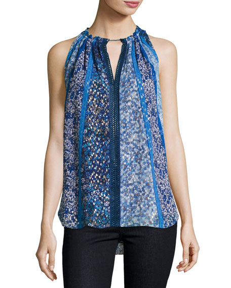 Bessie Sleeveless Floral-Print Blouse, Blue