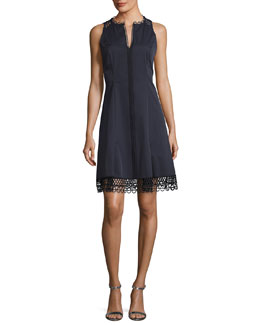 Loz Sleeveless Lace-Trim A-Line Dress, Navy