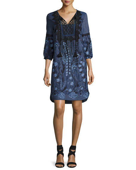 Elie Tahari Gale Lace-Trim Embroidered Chambray Dress