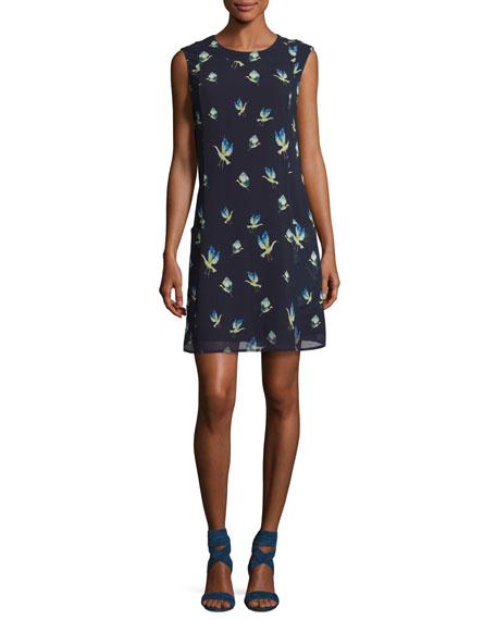 Sleeveless Crane-Print Chiffon Dress, Multi