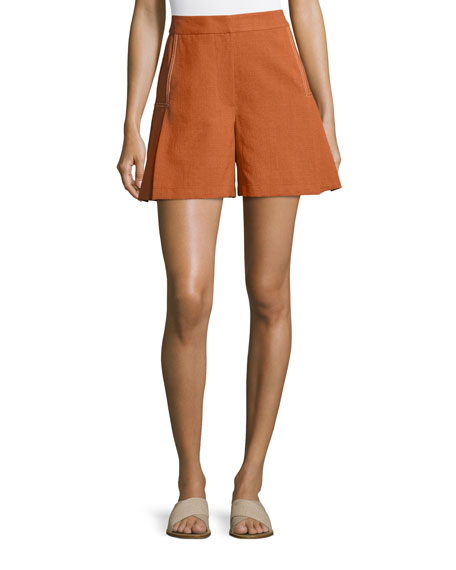 High-Waist Flared Shorts, Brown