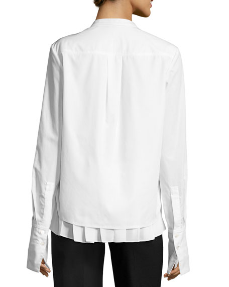 Long-Sleeve 2-in-1 Combo Poplin Top w/ Pleated Hem, White