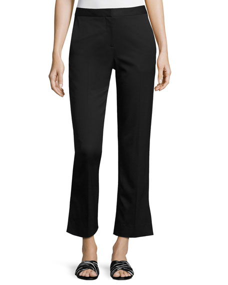 Straight-Leg Stretch-Wool Ankle Pants, Black