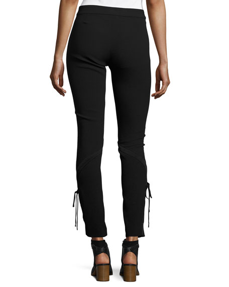 The Getaway Laced Crepe Pants, Black