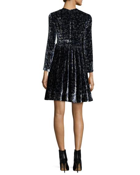 Liane Floral Velvet Dress, Navy Combo