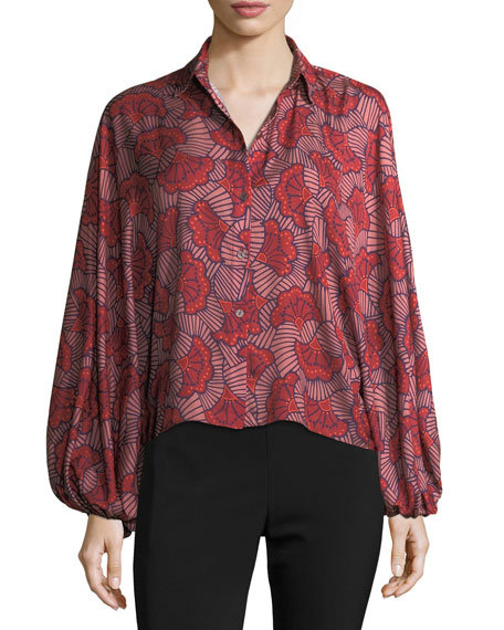 Nicolette Blooming Batwing-Sleeve Blouse, Red