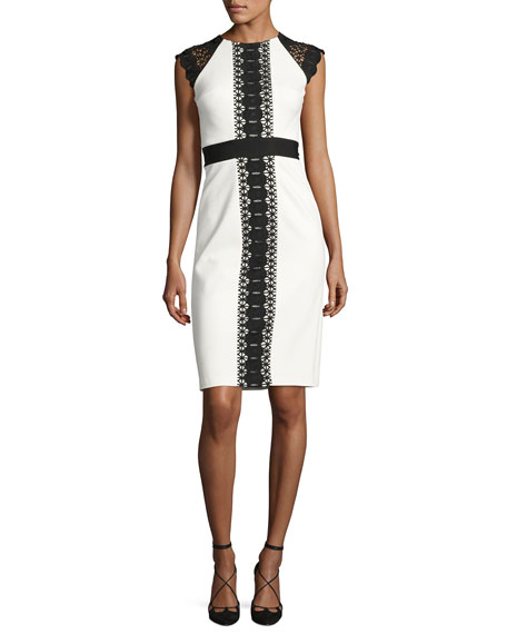 Catherine Deane Structured Jersey Lace-Trim Cocktail Dress,