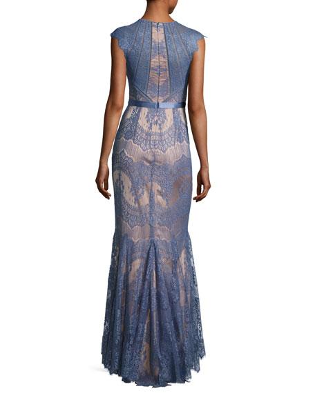 Cap-Sleeve Lace Trumpet Gown