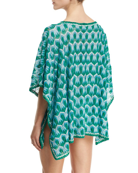 Zigzag Short Tunic Coverup, Blue/Green