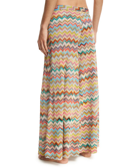Zigzag Palazzo Coverup Pants, Multicolor
