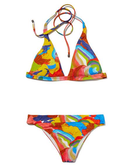 Painterly Print Two-Piece Bikini Set, Multicolor