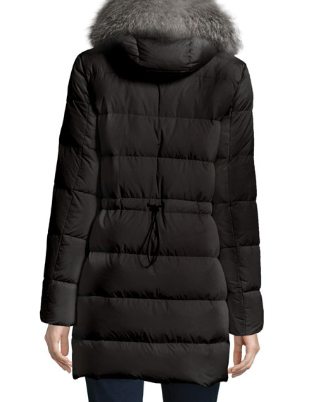 Fragonette Quilted Puffer Coat w/Detachable Fur Hood, Black