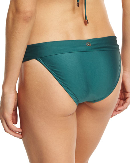 Bia Solid Full Swim Bikini Bottom, Green