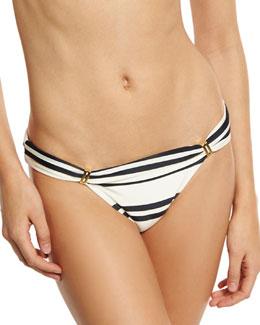 Bia Classic Striped Full Swim Bottom, White