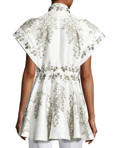 Giubbotto Short-Sleeve Zip-Front Top, White
