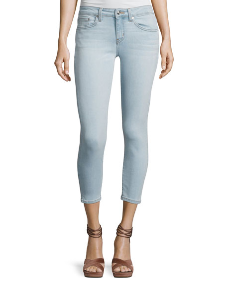 Devi Mid-Rise Cropped Authentic Skinny Jeans, Light Blue