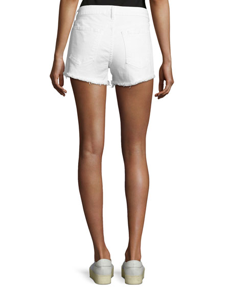 Quinn Mid-Rise Slim Girlfriend Jean Cutoff Shorts, White