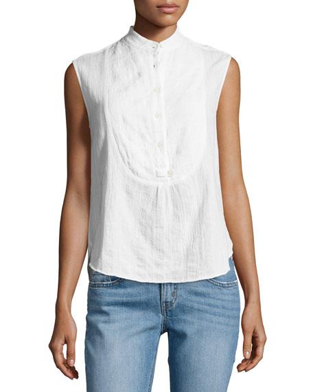 Sleeveless Gauze Tuxedo Shirt, White