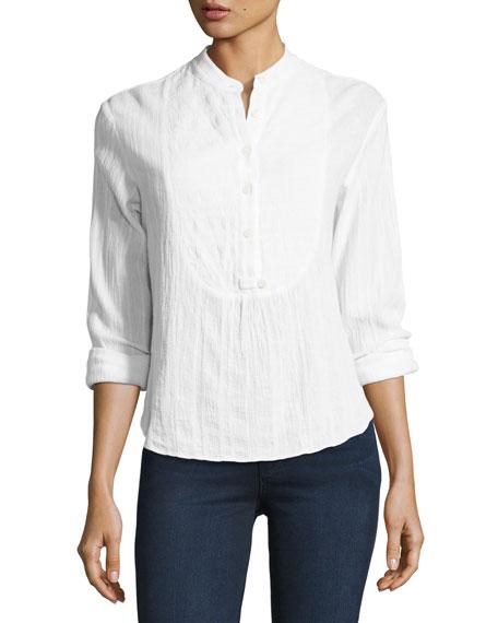 Derek Lam 10 Crosby Gauze Tuxedo Shirt, White