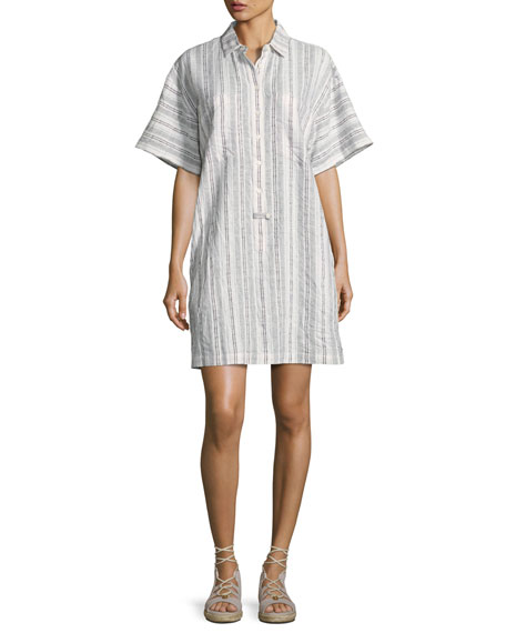 Striped Half-Sleeve Shirtdress, White
