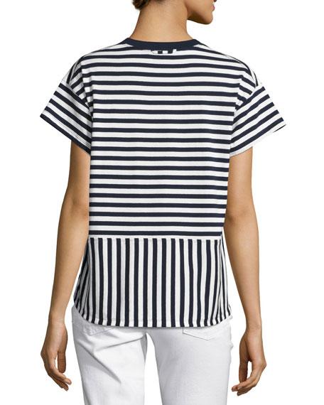 Striped Ringer Tee, Blue/White