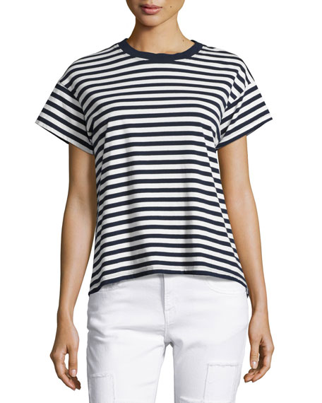 Striped Ringer Tee, Blue/White