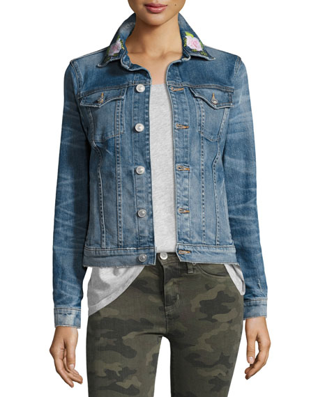 The Classic Denim Jacket with Rose Embroidery, Indigo