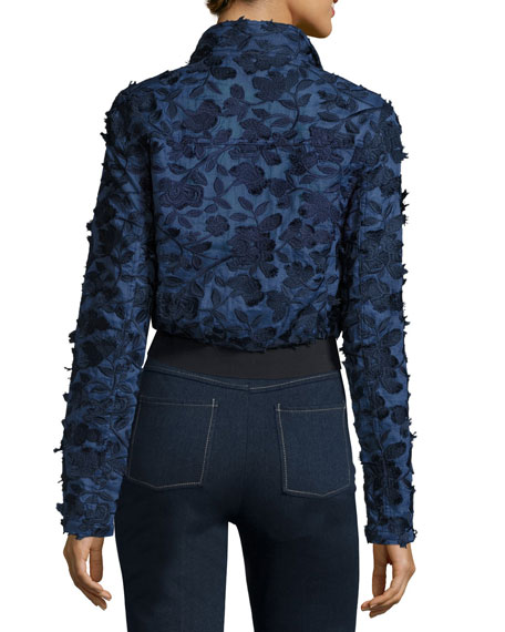 Suri Floral-Appliqué Chambray Bomber Jacket, Dark Blue