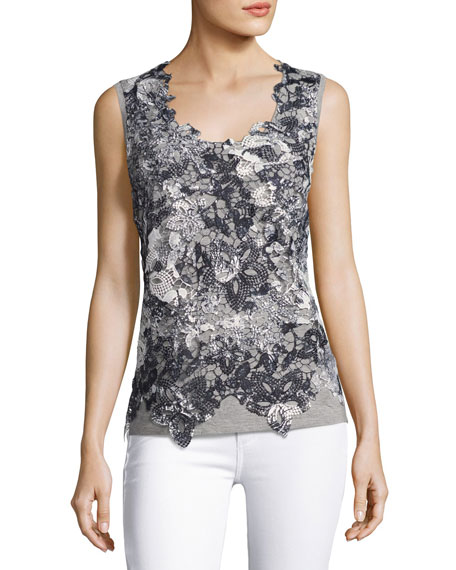 Elie Tahari Leandra Sleeveless Lace-Front Blouse, Black/Gray