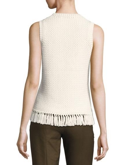 Meenara Crosshatched Knit Tank Sweater, White
