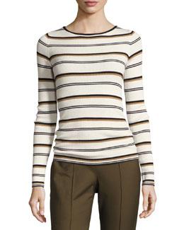 Mirzi M Refine Merino Wool Striped Sweater, White