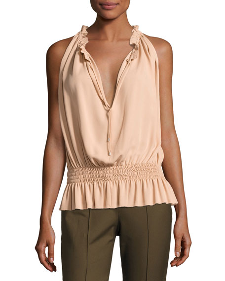 Dezzie Classic Georgette Sleeveless Blouse, Pink