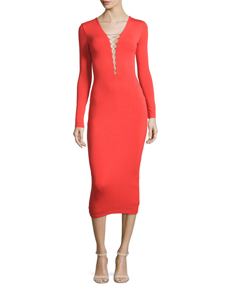 5a526729cb7 T by Alexander Wang Long-Sleeve Laced Ponte Midi Dress