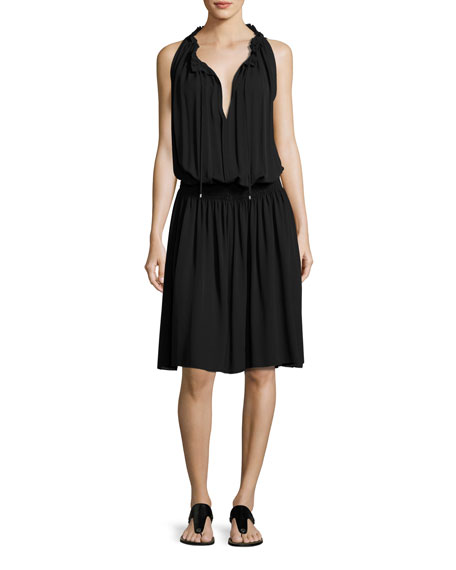 Ritah Classic Georgette Sleeveless Smocked-Waist Dress, Black