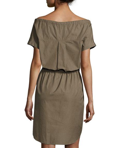 Laela Stretch-Cotton Off-the-Shoulder Shirtdress, Green