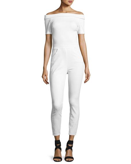 3x1 Off-the-Shoulder Denim Skinny-Leg Jumpsuit, Aspro